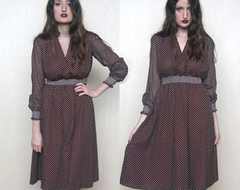 earth bound -- vIntage 70's swiss dotted brown dress S/M