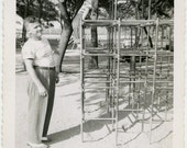 1950s Boy on MONKEY BARS with Dad - Playground - snapshot 515-A
