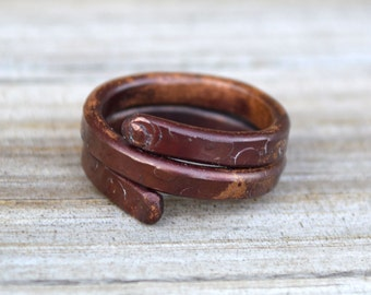 Artisan Ring Copper Wrap Stack Hand Forged Wire Metal Jewelry