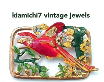 Enamel Jewelry, Antique Jewelry Pot Metal Enamel Flower Bird of Paradise Red Gold Green Yellow Rhinestone Brooch