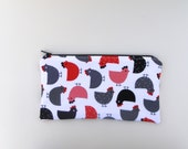 Chicken zippered bag, school supplies,pencil case,artist's bag,office supplies,birthday,valentine's day