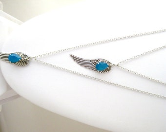 Layering Angel Wing and Swarovski Caribbean Blue Opal Necklace, Graduation Gifts