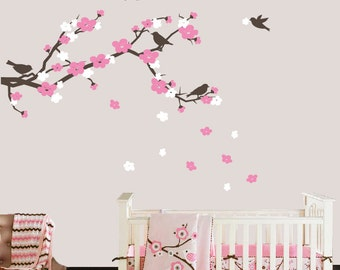 Cherry Blossom Branch and Birds Wall Decal, Cherry Blossom Wall Decals, Nursery Wall Decals, Kids Vinyl Decal Set, Baby Girl Nursery Decor