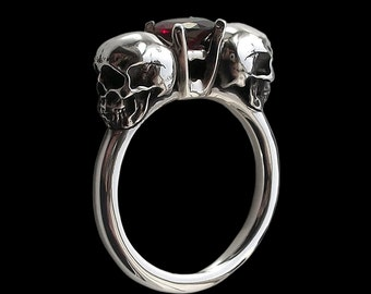 925 Solid Sterling Silver Dark Gothic Skull Engagement Ring with Red Garnet - Love to Death Ring - Inspired by Lovers Of Valdaro - ALL SIZES