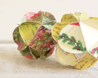 Geometric Upcycled Paper Greeting Card Ornaments-Set of 3 in your choice of colors
