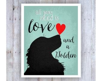Golden Retriever Art, Dog Art, All You Need is Love, Dog Lover Gift, Dog Decor, Dog Wall Art, Golden Retriever Decor, Cute Dog Art, Dog Love