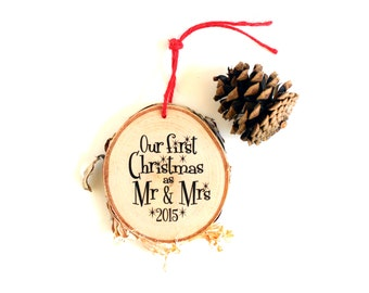 Wedding Gift |Mr and Mrs Ornament | Our First Christmas Ornament | Wedding Ornament | Bridal Shower Gift | Wedding Shower Gift