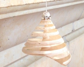 Beach Christmas Ornament - Spiral Cut Troca Shell with Swarovski Crystals - Choose Clear, Green or Blue Swarovski Crystals