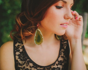 Green Druzy Agate Slice Earrings Geode and Peach Crystal-- Featured in the Etsy Finds!