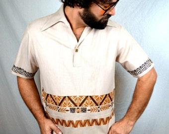 Vintage 1970s Liberty House Mens Hawaiian Aloha Tiki Shirt