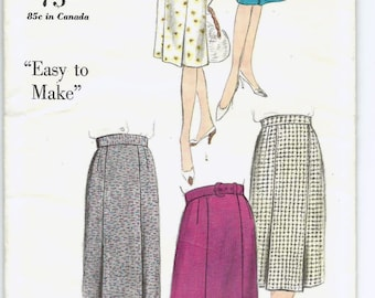 Uncut, size 25 inch waist, Vintage 1950s Sewing Pattern, Vogue 5387, Misses Skirt Inverted Pleats, Easy Simple, Size 25 inch waist, 38 hips