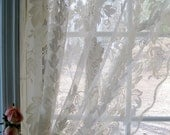 Reserved for Nance...Lacy Curtain Panel, Drapes, Window Treatment, Transparent, French Country Decor, by mailordervintage on etsy