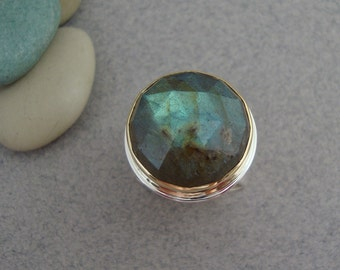 Rose Cut Labradorite Ring in 18k Gold and Sterling Silver, Teal and Green Statement Ring