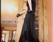 Skirt - Steampunk - Long Black Skirt - Burning Man - Maxi Skirt - Halter Dress - Goth - Designer Fashion - Gypsy - Size X- Small