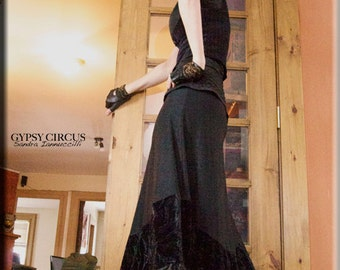 Skirt - Steampunk - Long Black Skirt - Burning Man - Maxi Skirt - Halter Dress - Goth - Designer Fashion - Gypsy - Size X- Small