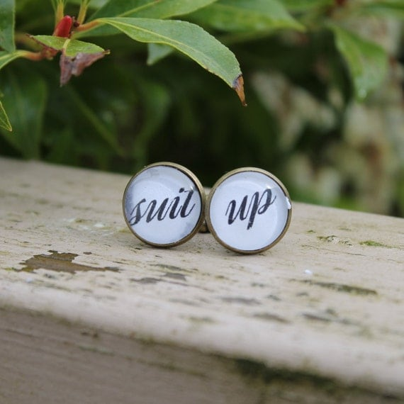 Wedding Cufflnks, Suit Up, Groomsmen Gift