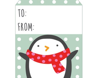 Penguin Holiday Tags - set of 4