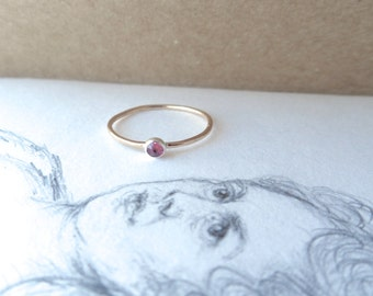 Plum Magenta Glimmer Ring Pink Tourmaline Gold-filled Ring