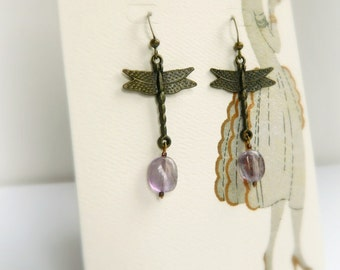 Dragon Fly Earrings with Amethysts / Antiqued Brass