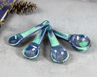 Set of 4 Mint Green / Blue Drips Ceramic Measuring spoons, Kitchen Gifts, Serving Home Decor Handmade Pottery