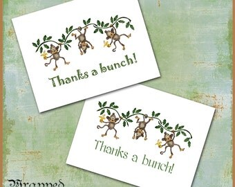 Monkey Thank You Cards / Set of 10 Notecards / Banana Vines Jungle / Thanks a Bunch / Customize / Brown Green Yellow / Birthday Graduation