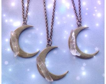 SALE Crystal Moon necklace, bronze tone, clear quartz, crystal point, gemstone, bohemian,