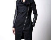 Black Vest / Asymmetrical Vest with Zipper / Wool Sleeveless Vest /  Designer Coat / marcellamoda - MC016