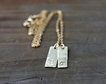 Gold Bar Necklace, Hand Stamped, Personalized Jewelry
