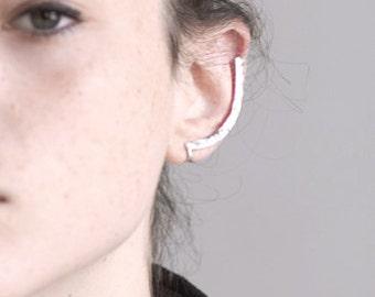 Minimalist Ear Cuff. Sterling Silver Ear Cuff. Hammered Ear Bar.