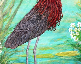 Large fiber art quilt for sale. A red egret at water's edge, it shimmering in late afternoon light. Silk painting creates glorious colors.