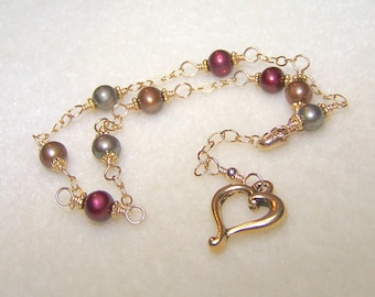 Heart Anklet Freshwater Pearl Earth Tone Ankle Bracelet Slightly Adjustable Gold Chain Body Jewelry Open Heart Charm Heart Gifts for Her