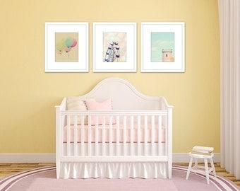 pastel nursery art girl, set of 3 photos, pastel wall art girl, toddler art girl, baby girl room, pastel art, set of 3 prints, carnival art