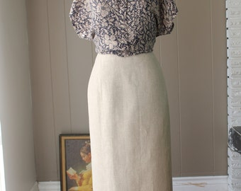 Flax Maxi skirt Ecru Linen High Waisted Pencil Skirt Slub linen loose weave skirt /Minimalist Cream beige sand slim skirt Large plus size