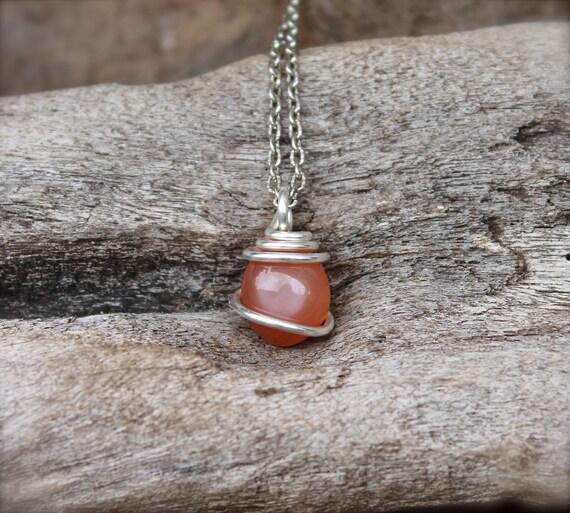 Peach Moonstone Jewelry PETITE Natural by MermaidTearsDesigns