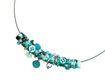Handmade Turquoise Fiber Art Necklace Statement, Fabric Jewelry, Upcycled Button, Wearable Art