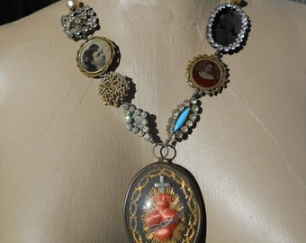 Pride and Joy   Antique French Sacred Heart Tintype Assemblage Necklace