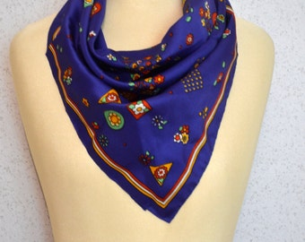 Bright Blue Retro Flowers Vintage Square Scarf with Original Tags