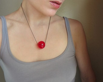 Red Glass Bubble Necklace, bright cherry red blown glass orb or sphere on antiqued brass chain, unique modern jewelry