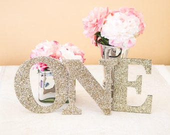 ONE Sign First Birthday Sign in Glitter - Wooden ONE Letters First Birthday Princess Birthday Decor in Glitter One Letters ( Item - LON100 )