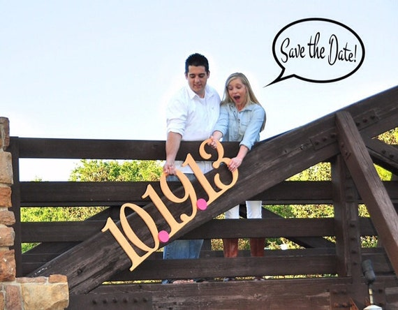 Save The Date Sign for Engagement Photography Prop - Large Date Sign in Custom Colors and Glitter - Save the Date Card (Item - STD100)