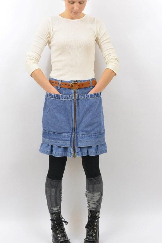 vintage high waisted denim skirt size small large pockets