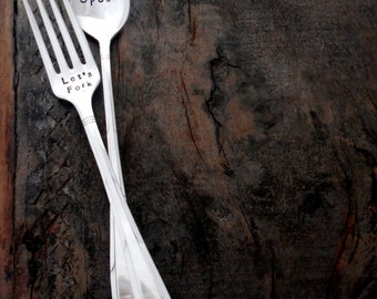 Let's Spoon Let's Fork™ The ORIGINAL Design of Sycamore Hill, Hand Stamped Vintage Silverware. Flatware. Sarcastic Wording. Inuendo. Spoons.