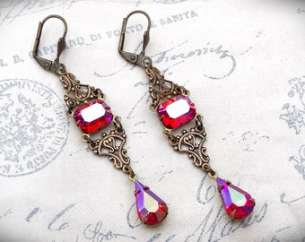 Ruby Crystal Victorian Earrings, Red Crystal Vintage Earrings, Art Nouveau Jewelry, Victorian Jewelry