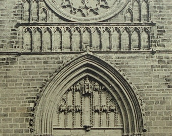 Antique French Postcard - Entrance to Cahors Cathedral, Cahors, Lot, France