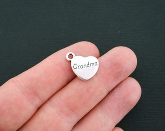 6 Grandma Heart Charms Antique Silver Tone 2 Sided- SC4699