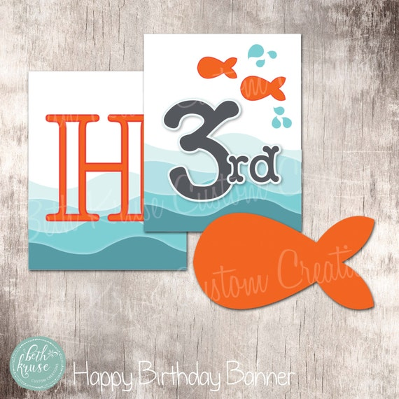 Goldfish Birthday Banner Instant Download By Beth Kruse