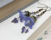 Lucite Flower Earrings Lavender Blue Purple Floral Earrings Bell Flower Dangle Earrings Fairy Pixie Jewelry Unique Earrings Crystal Sparkle
