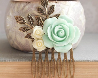 Wedding Hair Comb Mint and Ivory Bridal Accessories Bridesmaid Gift Romantic Vintage Inspired Big Aqua Mint Rose Hair Piece Flower Hairpiece