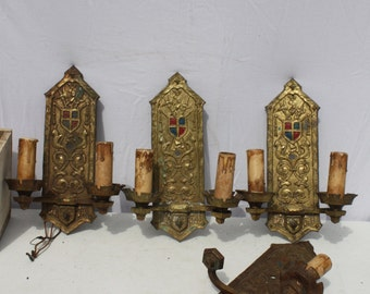 Vintage Brass Gothic Medieval Armorial Castle Sconce Matching Set of 4