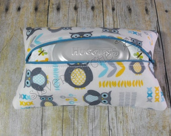 Soft Wipes Case, Blue and Gray Owl, Baby Wipes Case, Travel Wipes Case, Diaper Bag Accessory